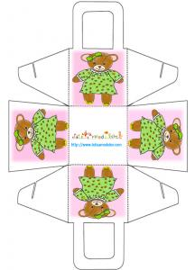 Panier nounours rose à imprimer