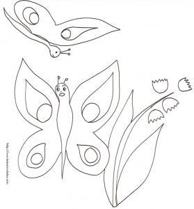 Coloriage de deux papillons et du brin de fleur