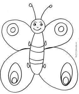 coloriage petit papillon rigolo