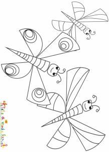 Trois papillons à colorier