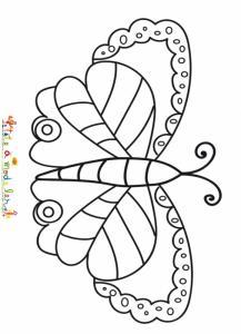 Coloriage d'un papillon multicolore