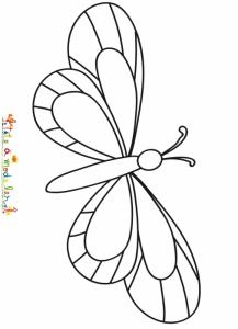 Coloriage en grand d'un petit papillon