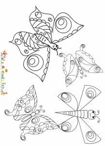 Coloriage de 4 papillons en vol