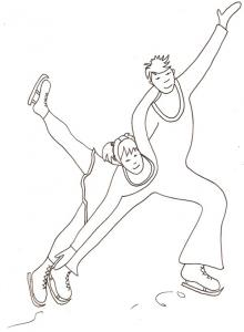 Coloriage patinage sur glace : couple