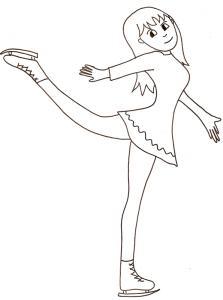 Coloriage patinage sur glace : danse fille