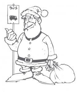 coloriage du Père Noël attendant le bus
