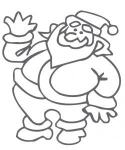 coloriage du Père Noël qui fait coucou