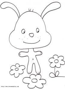 Coloriage du petit lapin tout mignon et des fleurs