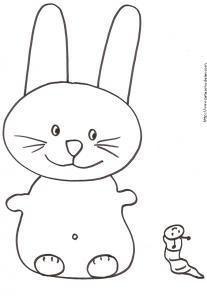 Coloriage du petit lapin tout mignon et la chenille