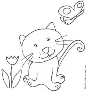Coloriage du chat tout mignon et du papillon