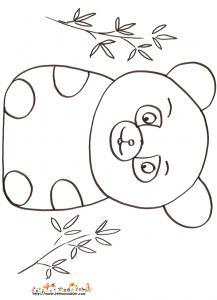 Coloriage petit ours assis dans le bambou