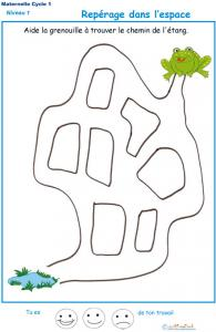 Jeu de labyrinthe - dans ce jeu à imprimer, la grenouille est perdue, elle ne trouve plus le chemin de l'étang !