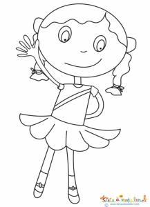 Coloriage petite fille aux couettes
