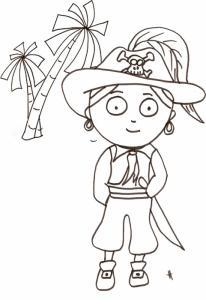 Imprimer le coloriage du pirate au chapeau à plume sur l'île