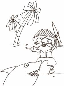 coloriage du pirate au crochet face au requin