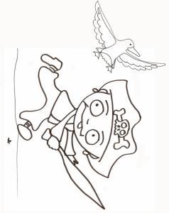 coloriage du pirate à la mouette