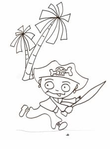 Imprimer le coloriage du pirate qui court
