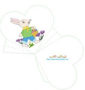 Modèle de pochette coeur avec un lapin de Pâques
