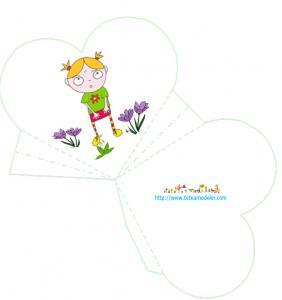 modèle de pochette cadeau coeur avec la petite Nana