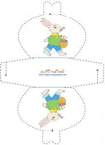 Modèle de pochette chocolat lapin de Pâques