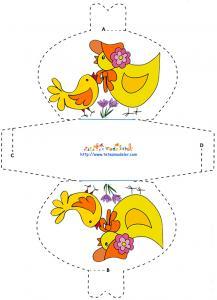 Modèle pochette chocolat décors poule et poussin