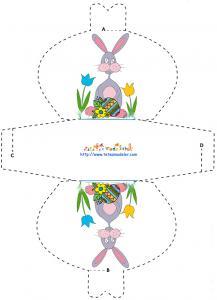 Modèle pochette chocolats de Pâques motif lapin