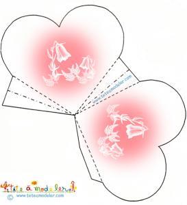 Pochette coeur campanule rose
