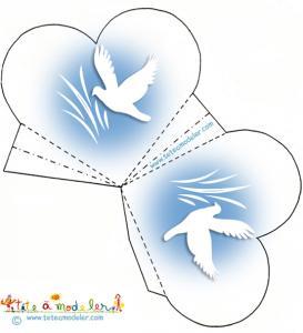 Pochette dragées coeur colombe