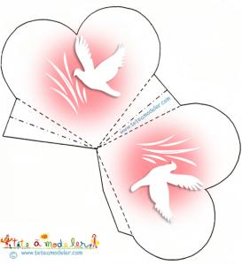 Pochette coeur à dragées rose et colombe