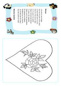 Poésie fête des mères à colorier