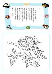 Poésie fête des mères cadre bleu fleurs et papillons