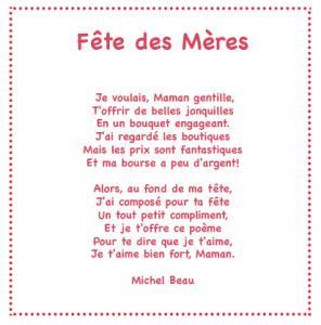 Fête des mères est un poème plein d'amour et d'attention que votre enfant pourra réciter le jour de la fête des mères ou à chaque occasion qu'il aura de lui faire plaisir. Imprimez ce joli poème illustré gratuitement et collez-le par exemple sur une carte