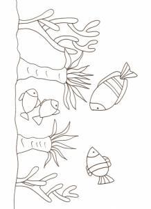 Coloriage de poissons et flore marine