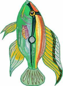 Imprimer le poisson d'avril vert et argenté