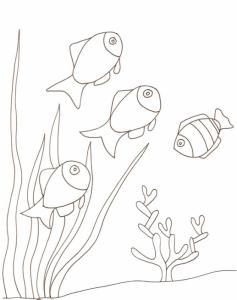Imprimer le coloriage des petits poissons au fond de la mer, grandes herbes et corail