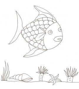 coloriage d'un poisson arc en ciel et anémones
