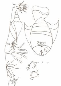 coloriage d'un poisson,anémones et coquillage