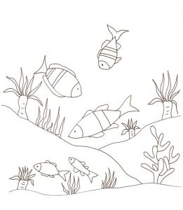 coloriage de petits poissons au fond de la mer 2
