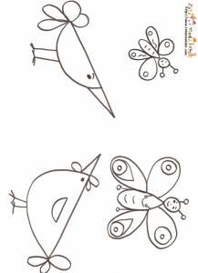 Coloriage petite poule et oiseau