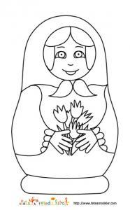 Coloriage Mariochka la poupée russe