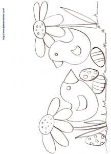 Coloriage Pâques : 2 petits poussins et les oeufs