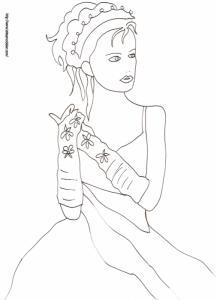 Coloriage du portrait de la princesse aux gants longs