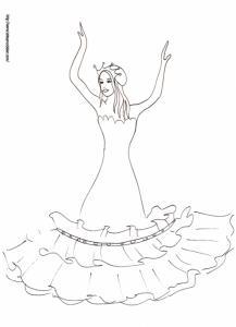 Coloriage de la princesse avec une robe volantée
