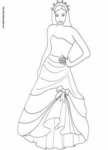 Coloriage de la princesse avec une robe de bal et diadème