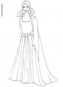 Coloriage de la princesse avec une robe à grand col