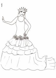 Coloriage de princesse à la robe à volants et traîne