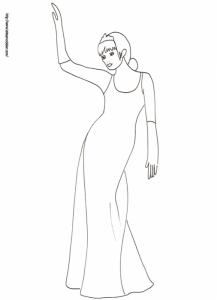 Coloriage de la princesse en robe du soir