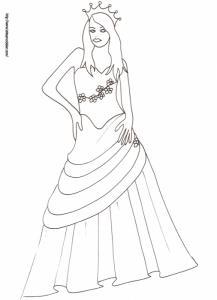 Coloriage de la princesse en robe de bal dessin 32