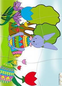 Puzzle du petit lapin de Pâques et son oeuf
