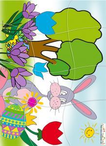 Puzzle du gros lapin de Paques dans les crocus